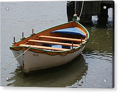 Acrylic Print featuring the photograph Orange And White  Boat  by Phoenix De Vries