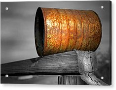 Orange Appeal - Rusty Old Can Acrylic Print by Gary Heller
