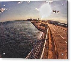 Acrylic Print featuring the digital art Orange Beach From Perdido Bridge by Michael Thomas