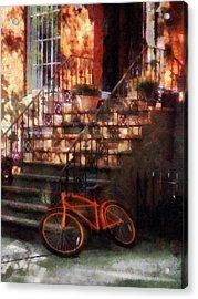 Orange Bicycle By Brownstone Acrylic Print by Susan Savad