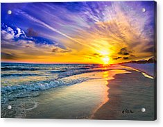 Orange Blue Saturated Sunset-pensacola Beach-bright Sun Acrylic Print by Eszra Tanner