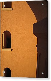 Acrylic Print featuring the photograph Orange Building With Archway by Mary Bedy