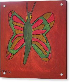 Acrylic Print featuring the painting Orange Butterfly by Artists With Autism Inc