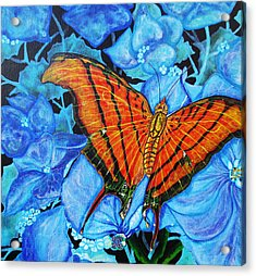 Acrylic Print featuring the painting Orange Butterfly by Debbie Chamberlin