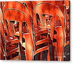 Acrylic Print featuring the digital art Orange Chairs by Valerie Reeves