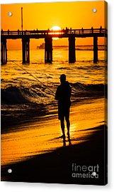 Orange County California  Sunset Fishing Picture Acrylic Print by Paul Velgos