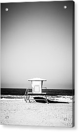 Orange County Lifeguard Tower Black And White Picture Acrylic Print by Paul Velgos