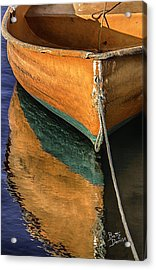 Acrylic Print featuring the photograph Orange Dinghy In Warm Sun by Betty Denise