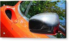 Acrylic Print featuring the photograph Orange Ferrari  by Jeff Lowe