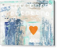 Orange Heart- Abstract Painting Acrylic Print by Linda Woods