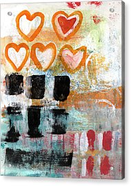 Orange Hearts- Abstract Painting Acrylic Print