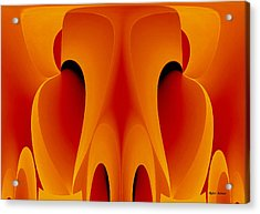 Acrylic Print featuring the mixed media Orange Mask by Rafael Salazar