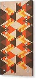Orange Maze Acrylic Print by VessDSign