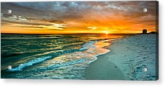 Orange Panoramic Sunset Acrylic Print by Eszra Tanner