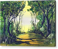 Acrylic Print featuring the painting Orange Path by Terry Banderas