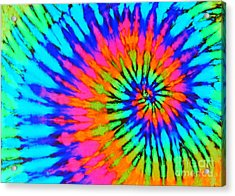Orange Pink And Blue Tie Dye Spiral Acrylic Print