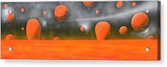 Acrylic Print featuring the painting Orange Planet by Tim Mullaney
