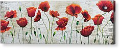 Orange Poppies Original Abstract Flower Painting By Megan Duncanson Acrylic Print by Megan Duncanson