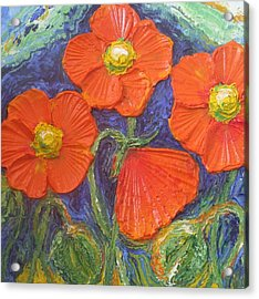 Orange Poppies Acrylic Print by Paris Wyatt Llanso