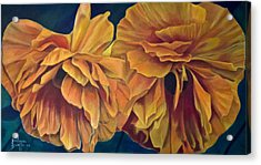 Acrylic Print featuring the painting Orange Poppies by Ron Richard Baviello