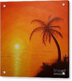 Acrylic Print featuring the painting Orange Reflections by Arlene Sundby