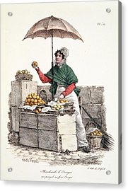 Orange Seller, Print Made By Delpech Acrylic Print by Carle Vernet