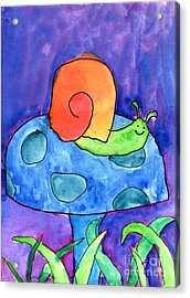 Orange Snail Acrylic Print by Nick Abrams Age Twelve