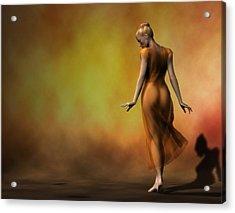 Acrylic Print featuring the digital art Orange Strut by Kaylee Mason