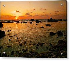 Acrylic Print featuring the photograph Orange Sunset by Meir Ezrachi
