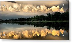 Orange Sunset Reflection Acrylic Print by Daliana Pacuraru