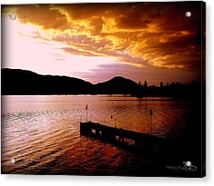 Acrylic Print featuring the photograph Orange Sunset Skaha Lake by Guy Hoffman