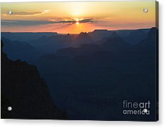 Orange Sunset Twilight Over Silhouetted Spires In Grand Canyon National Park Diffuse Glow Acrylic Print