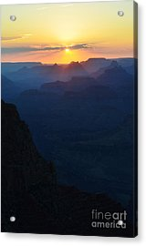 Orange Sunset Twilight Over Silhouetted Spires In Grand Canyon National Park Vertical Acrylic Print