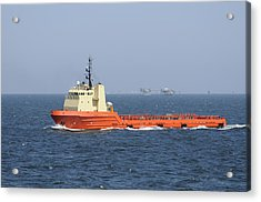 Orange Supply Vessel Underway Acrylic Print