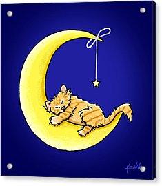 Orange Tabby Lunar Love Acrylic Print by Kim Niles