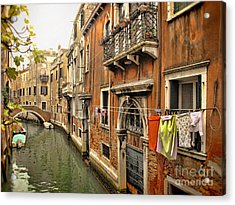 Orange Towel Venice Canal Acrylic Print