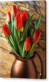 Orange Tulips In Copper Pitcher Acrylic Print by Garry Gay