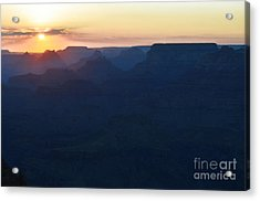 Orange Twilight Sunset Over Silhouetted Spires In Grand Canyon National Park Diffuse Glow Acrylic Print