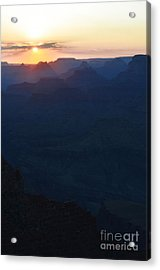 Orange Twilight Sunset Over Silhouetted Spires In Grand Canyon National Park Diffuse Glow Vertical Acrylic Print