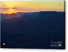 Orange Twilight Sunset Over Silhouetted Spires In Grand Canyon National Park Acrylic Print