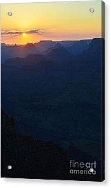 Orange Twilight Sunset Over Silhouetted Spires In Grand Canyon National Park Vertical Acrylic Print