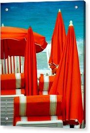 Orange Umbrellas Acrylic Print