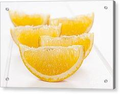 Orange Wedges On White Background Acrylic Print