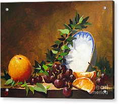 Acrylic Print featuring the painting Orange With Bowl by Carol Hart