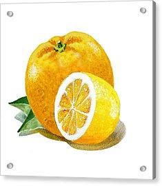 Orange With Half Lemon Acrylic Print by Irina Sztukowski