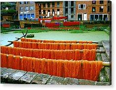 Orange Yarn Acrylic Print