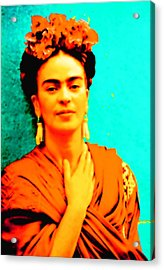 Acrylic Print featuring the mixed media Orange You Glad It Is Frida by Michelle Dallocchio
