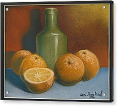 Acrylic Print featuring the pastel Oranges And A Wine Jug by Sam Shacked