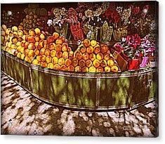 Oranges And Flowers Acrylic Print by Miriam Danar