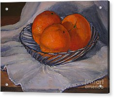 Oranges In A Swirly Bowl Acrylic Print